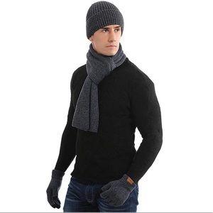 Men'sBeanie Hat Neck Warmer Scarf Gloves Set 3 PCS